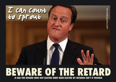 Funny Picture that makes fun of David Cameron The Retard