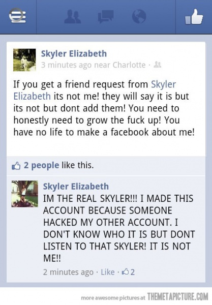Funny Facebook Update about Hacked Facebook Account
