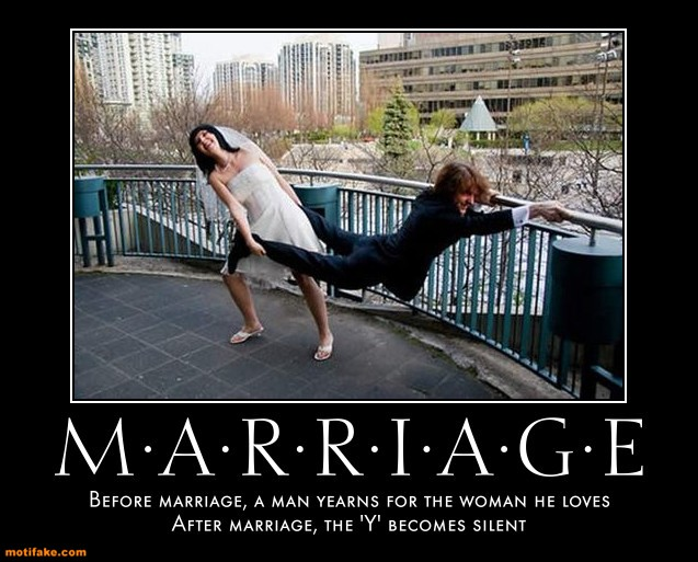 "Funny Marriage Joke:  marriage turns ""yearns"" into ""earns""."