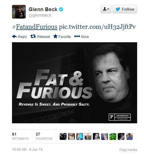 Glenn Beck jokes that Chris Christie is Fat and Furious