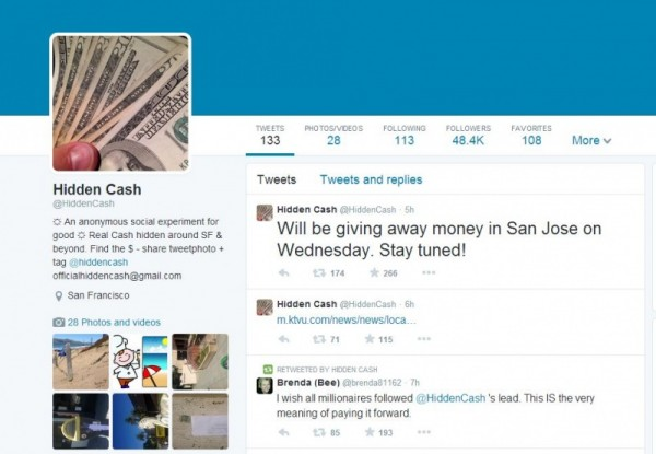 Hidden Cash - Twitter Account Screenshot