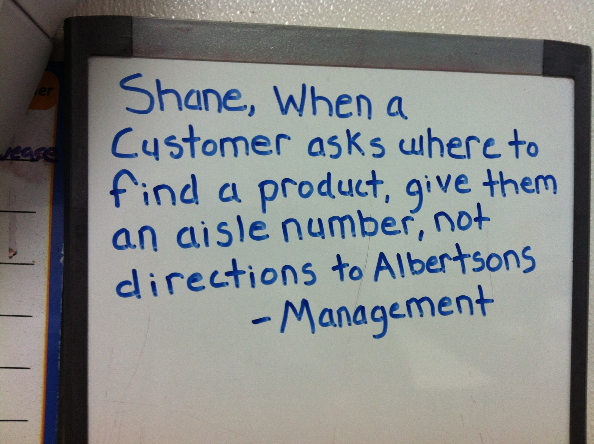 Funny Guy Shane Vs. Angry Management: directions to Albertsons (1)
