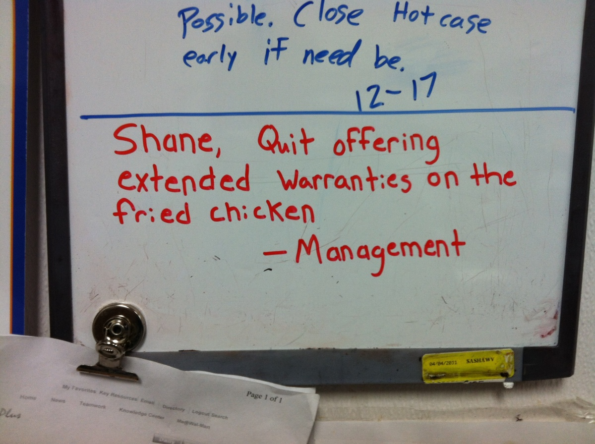Funny Guy Shane Vs. Angry Management: extended warranties on the fried chicken (8)
