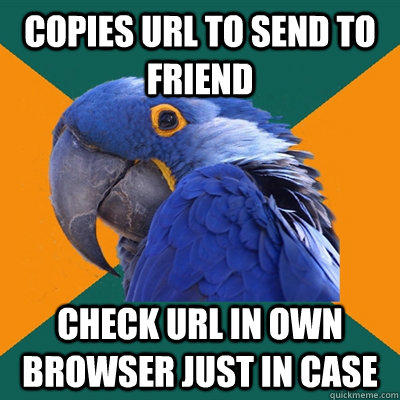 Funny Pictures of Paranoid Parrot - Sending URL To Friend