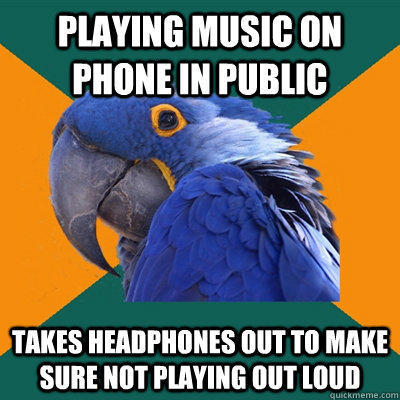 Paranoid Parrot About Playing Music On Phone In Public - Funny Pictures