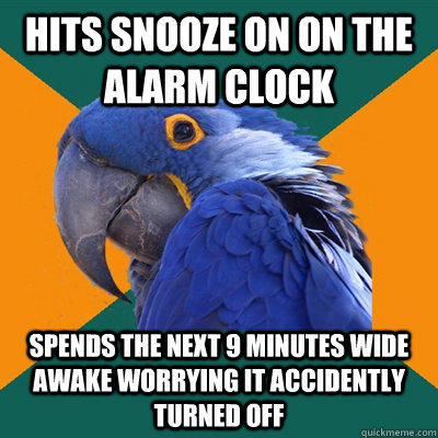 Paranoid Parrot Funny Pictures About Snooze On The Alarm Clock