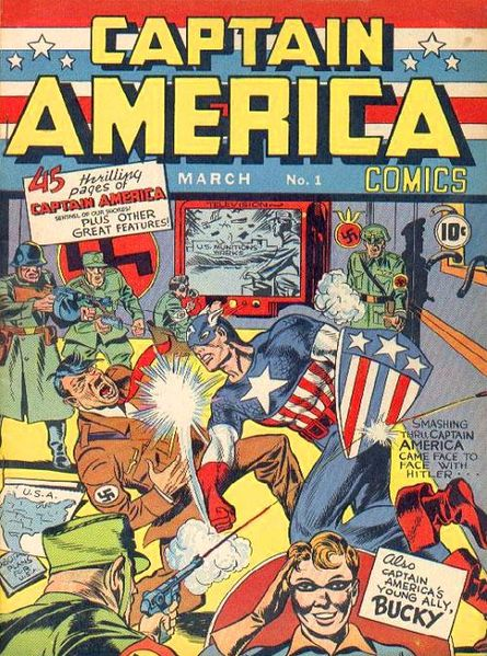 Captain America Comic Book Cover By  Jack Kirby