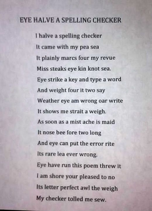 Funny Spell Checker Poem