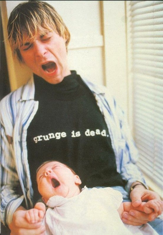 Kurt With His Baby Daughter Frances Bean Cobain