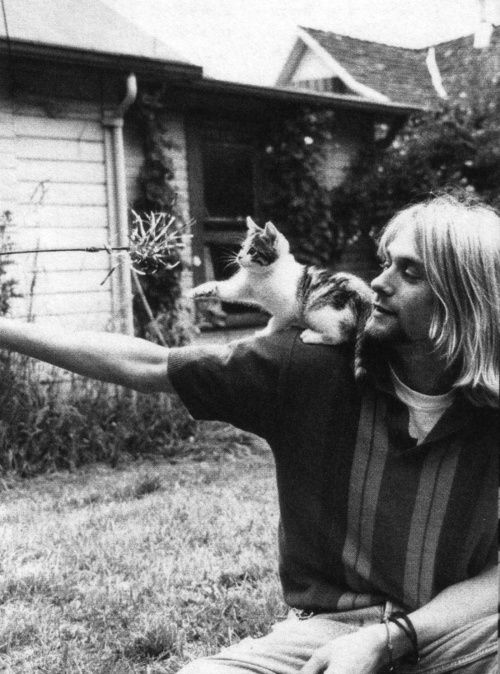 Kurt Cobain With A Cat On His Shoulder