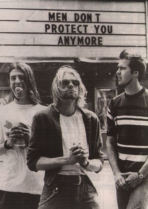 Kurt Cobain With His Nirvana Bandmates
