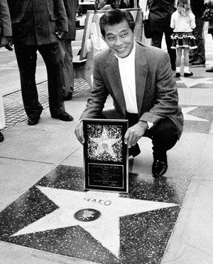 Mako Iwamatsu accepting a Star on the Walk of Fame