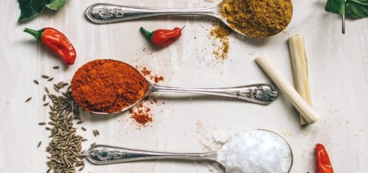 five spoons filled with spices